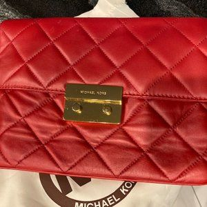 Red Michael Kors quilted clutch